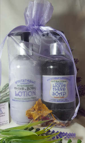 lavender liquid hand wash soap with lavender hand and body lotion in organza gift bag